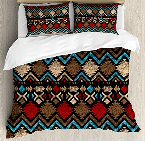 Lunarable Aztec Duvet Cover Set Queen Size, Tribal Ethnic Design Abstract Colorful Shapes Latin American Inspired Print, Decorative 3 Piece Bedding Set with 2 Pillow Shams, Light Brown Red Blue (Ethnic Light)