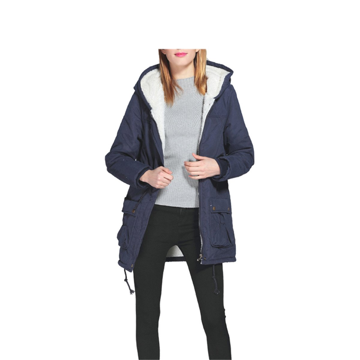 Amazon.com: Anzhuangh New Winter Padded Coats Women Cotton Wadded Jacket Medium-Long Parka Thick Warm Plus Size Hooded Quilt Snow Outwear Abrigos Khaki M: ...