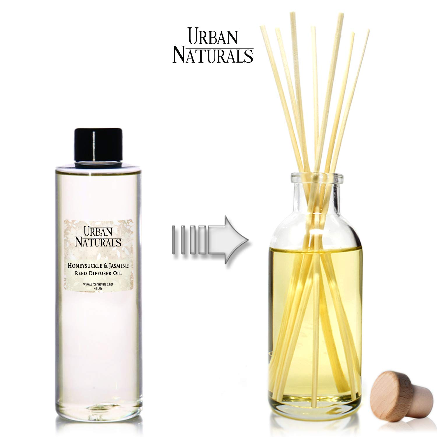 Urban Naturals Honeysuckle & Jasmine Reed Diffuser Oil Refill | Beautiful Floral Fragrance | Hyacinth, Neroli, Iris, Rose & Lily of The Valley | Includes Free Set of Reed Sticks! Made in The USA by Urban Naturals (Image #2)