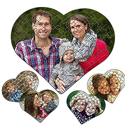 Personalized Photo Print Jigsaw Puzzle Heart Shape 80 Pieces