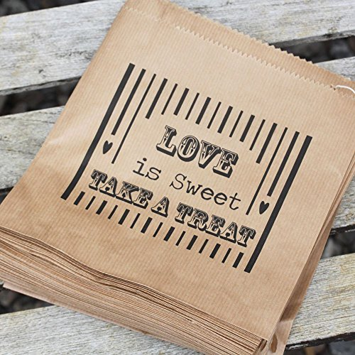 Luck And Luck Kraft Brown 'Love Is Sweet' Bag - Wedding Sweet Candy Bar x 90 Favours