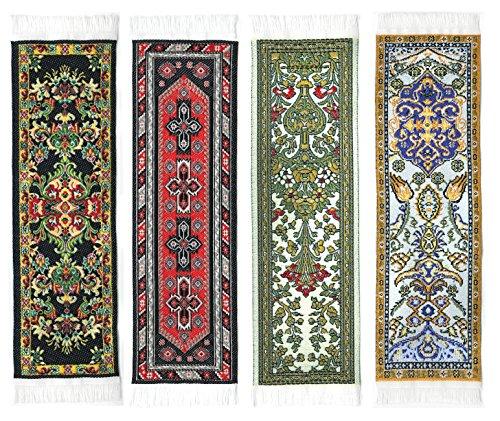 Oriental Carpet Bookmarks #2 - Authentic Woven Carpet (Set of 4)