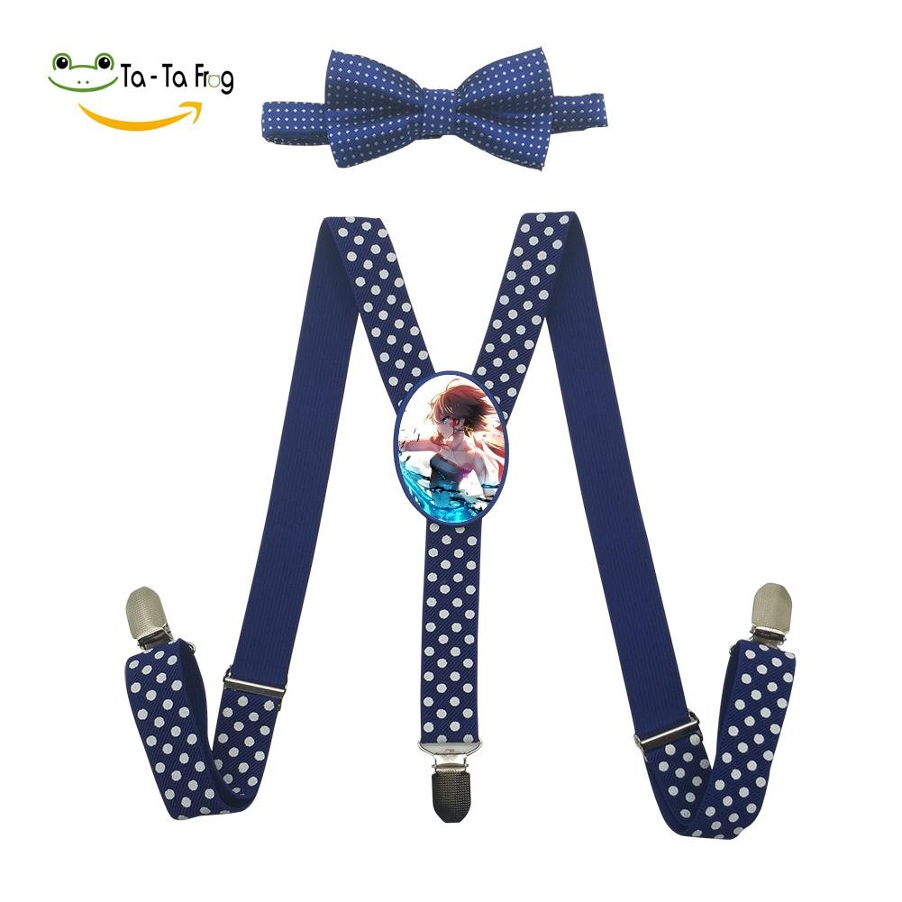 Xiacai Cool Shooter Girl Suspender/&Bow Tie Set Adjustable Clip-On Y-Suspender Kids