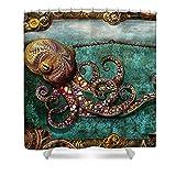 Pixels Shower Curtain (74'' x 71'') ''Steampunk - The Tale Of The Kraken''