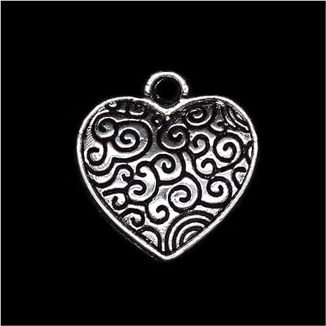 5 x Tibetan Silver Lovely Love Heart Charm Pendant Jewelry Making Craft