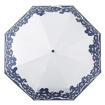 Paraguas Lluvia y lluvia automático paraguas mujer paraguas anti-UV Pliez tres paraguas Fold