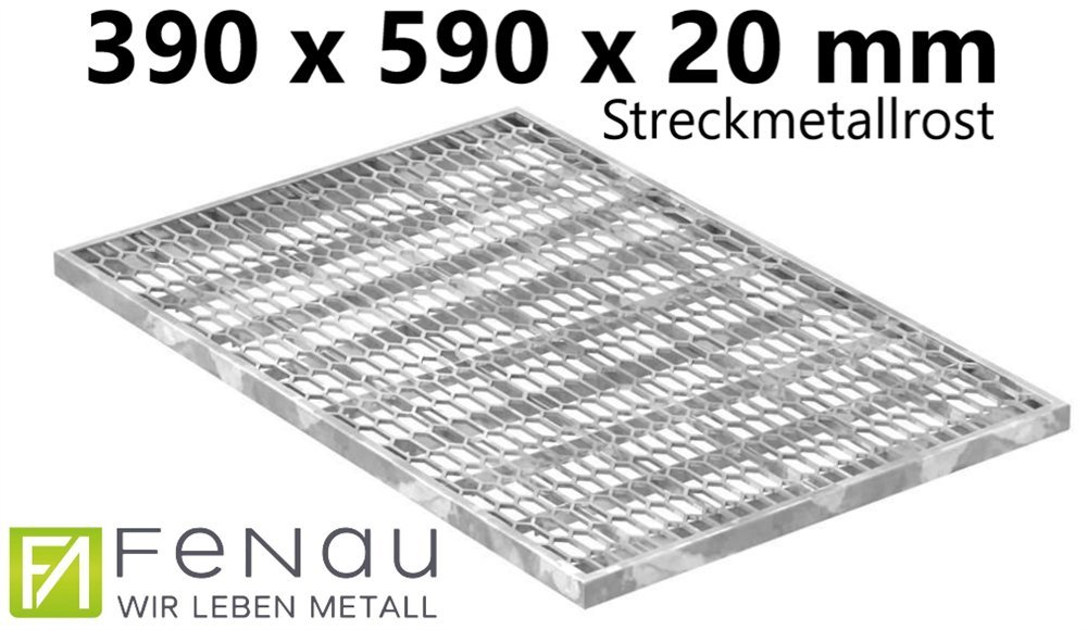 Fenau | Expanded-Grating/Construction-Grid - Dimensions: 390 x 590 x 20 mm - (hot Dip Galvanized) (Suitable for Frame: 400 x 600 x 23 mm) Standard-Grate for Light-Shaft