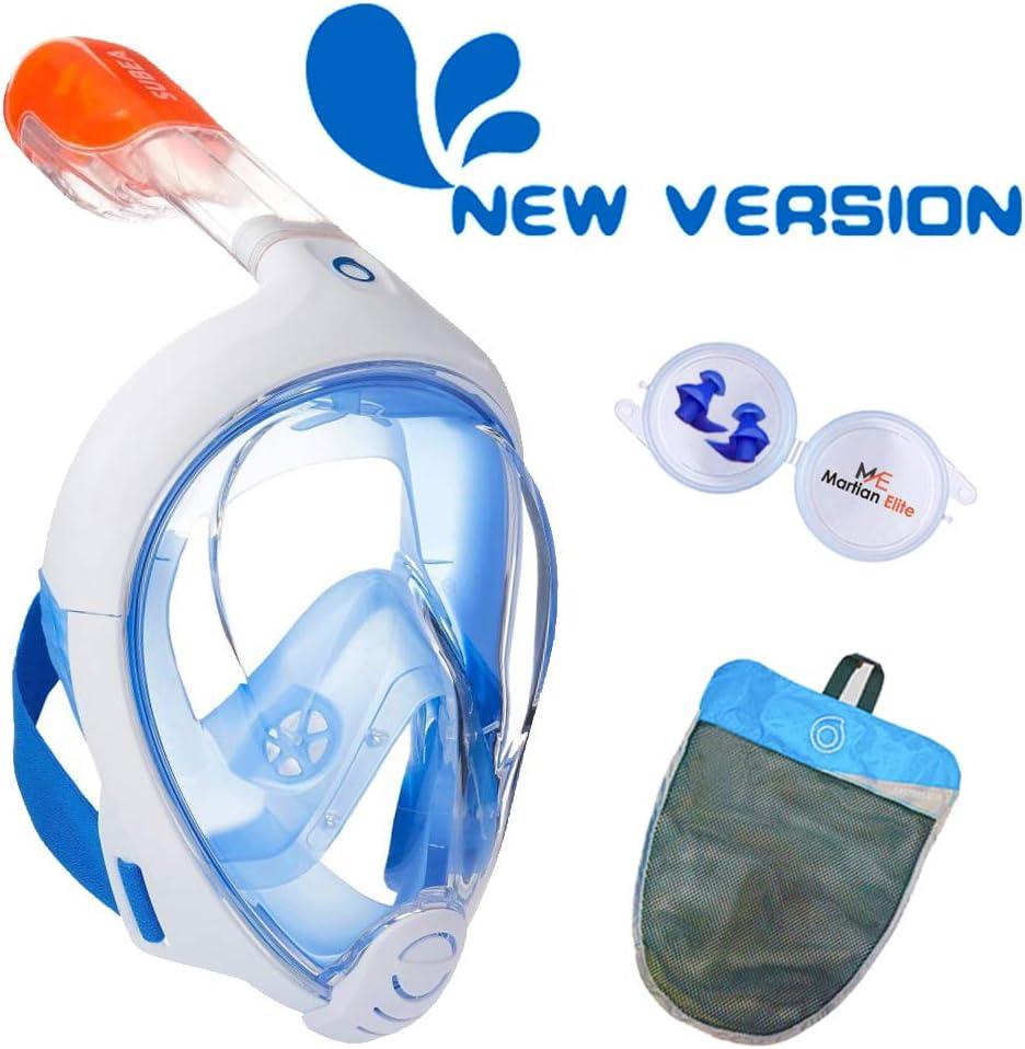 Full Face Snorkel Mask with Waterproof earplug New Version ME MARTIAN ELITE Tribord//Subea Easybreath Enhanced Anti-Fog and Anti-Leak