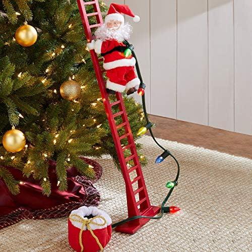 BrylaneHome Christmas Mr. Christmas Animated Musical Climbing Santa, Small