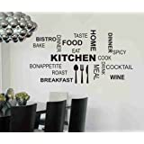 Decals Design 'Kitchen Quote Modern Art' Wall Sticker (PVC Vinyl, 70 cm x 25 cm x 2, Black)