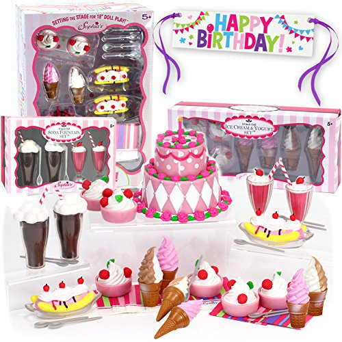 (Sophia's Mini 18 Inch Doll Food Set, Complete Sweet Treat Set w/ Frozen Yogurt, Cake, Banana Split, Soda Fountain, Ice Cream & Banner Doll Accessories for 18 Inch Doll Tea)