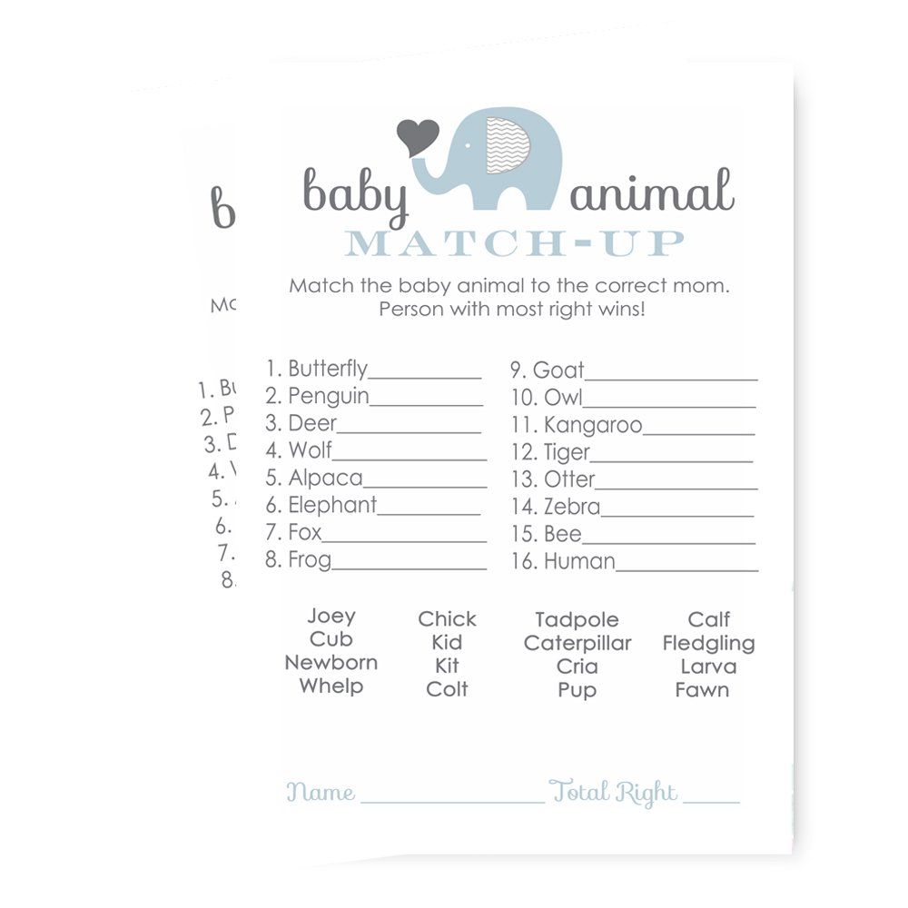 Blue Elephant Baby Shower Game Animal Match - 25 Pack