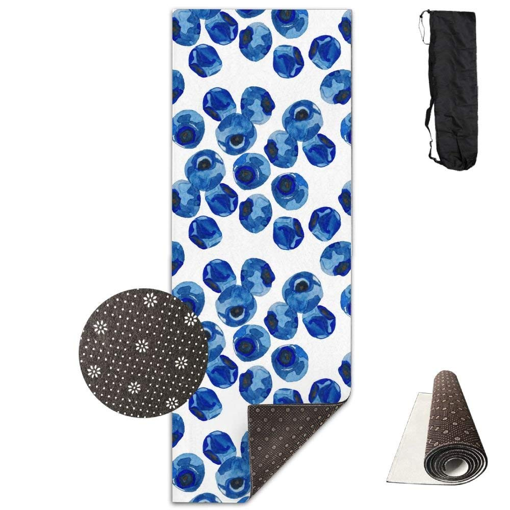 Delicious blueeeberry Yoga Mat 72X24 Inch Premium Print NonSlip EcoFriendly AntiTear Floor Pilates Exercise Mat for Yoga, Workout, Fitness with Carrying Strap