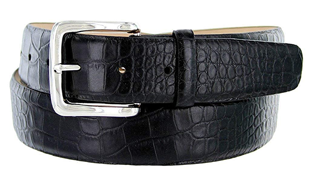 Hagora Men 1.5 Wide Italian Calfskin Alligator Skin Or Clear Metal Buckle Belt