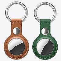 [2 stuks] Apple air tag-sleutelhanger, Apple AirTags sleutelhanger van leer, air tag-hanger, beschermt de Airtag-locator…
