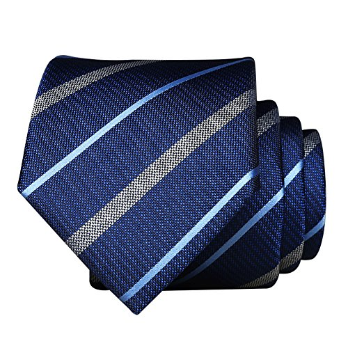 - Necktie For Men 【EVANHOME】 Trendy Men's Striped Tie Tie Knot 2.8 inches Gift Wrapping (Blue-Based Blue Gold - Solid Stripes)