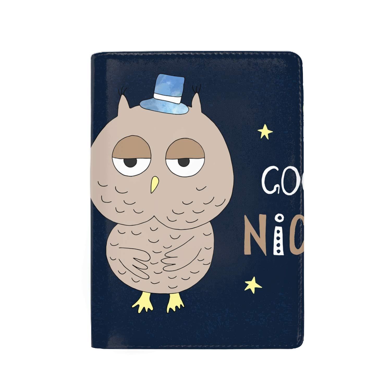 RFID Blocking Genuine Leather Passport Case Cover Holder Travel Wallet Owl Bird