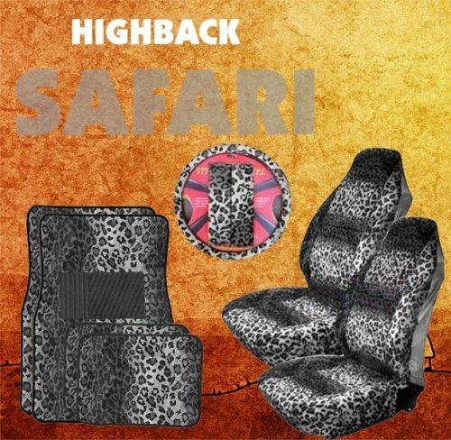 9pc Safari Grey Leopard Print Car Floor Mats, High Back Seat Covers, Steering Wheel Cover & Shoulder Pad Set