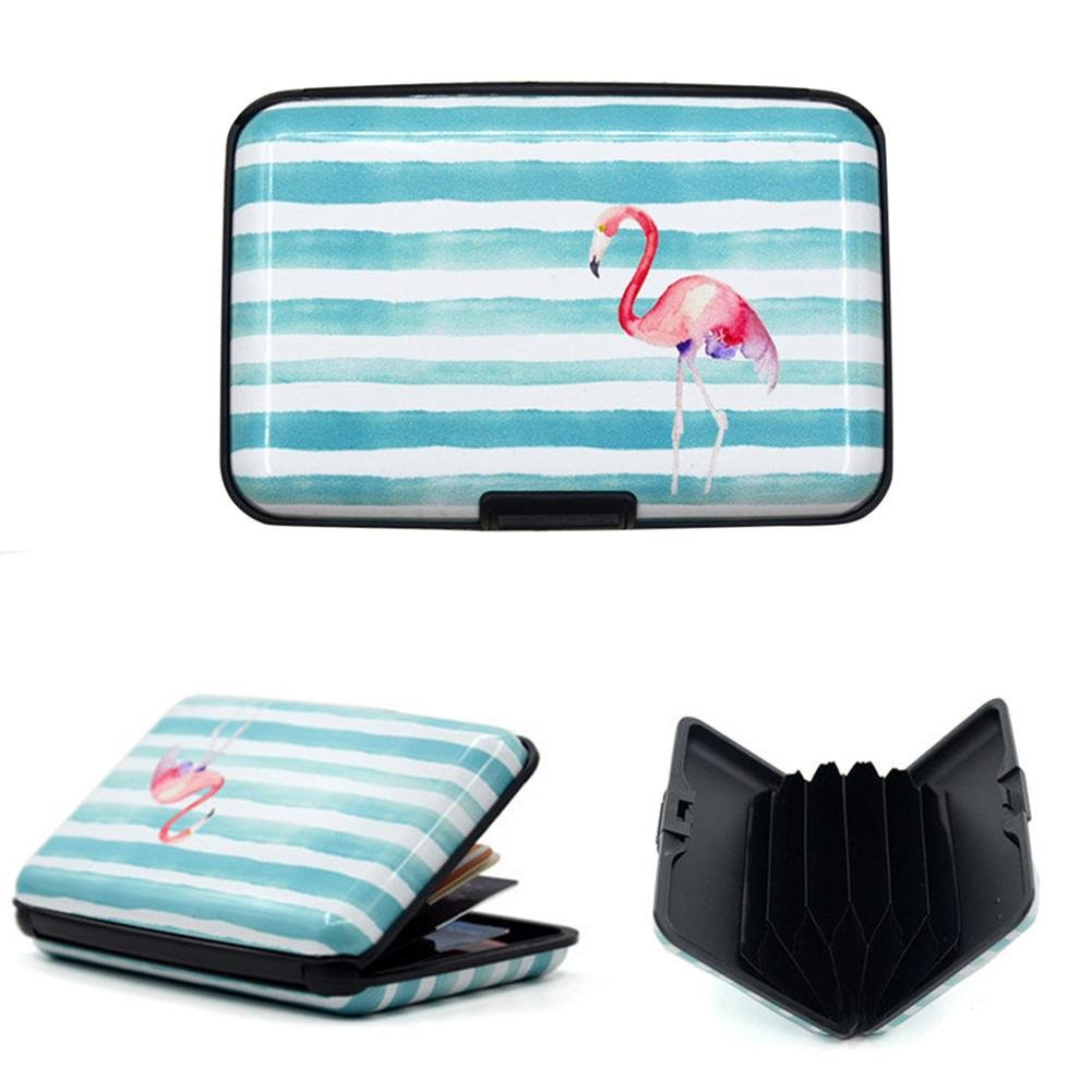 Pink Bird Prosperveil Women RFID Business Card Box Credit Card Pocket Wallet Holder