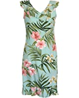 RJC Women's Breathtaking Island Getaway Short Hawaiian V-Neck Ruffle Dress