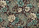 Brown Teal Paisley Glitter Lined 84 in Curtains