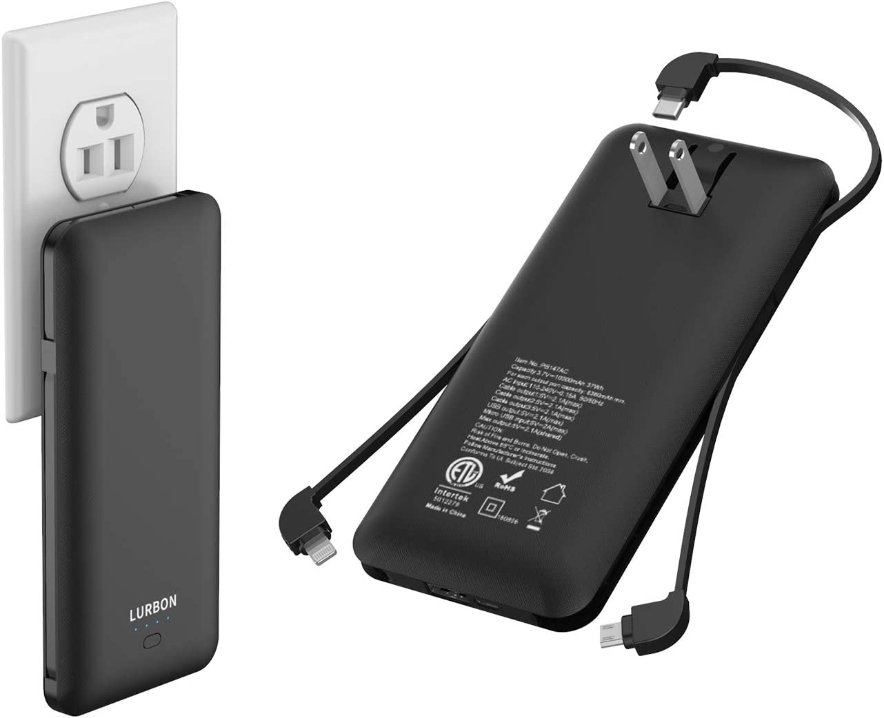 10000 mAh Portable Charger Power Bank Ultra Slim External Battery Pack with Built in AC Plug Type-c Cable,Micro Cable and Other Cable for Cell Phone
