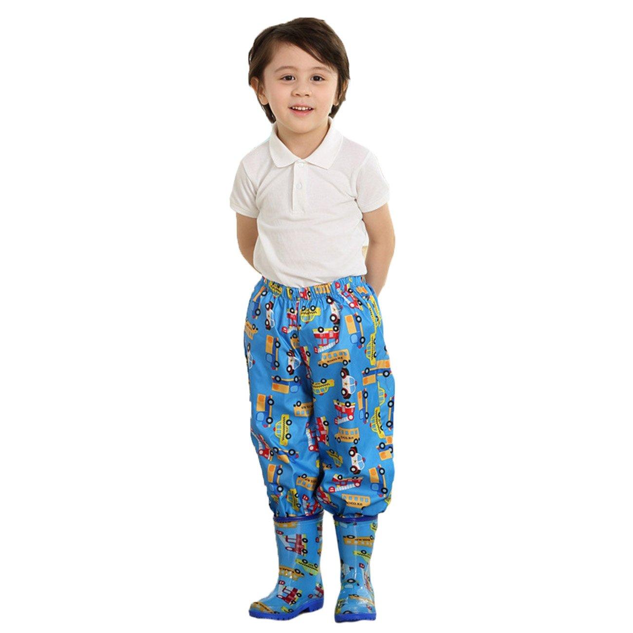 Lemonkid® Kids Boys Girls Waterproof Rain Pants Trouser Cartoon Print Pink M Fit 6-8T Faddist Spark Malls-CA