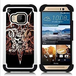 BullDog Case - FOR/HTC ONE M9 / - / DEVIL ROCK METAL HORNS SKULL BLACK /- H??brido Heavy Duty caja del tel??fono protector din??mico - silicona suave