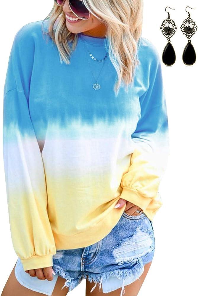 BUOYDM Mujer Camisetas Algodón Manga Larga Gradiente Color Camisas ...