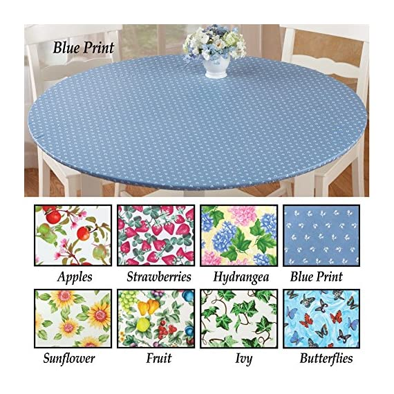 Patterned Fitted Table Cover with Soft Flannel Backing and Durable Wipe-Clean Vinyl Construction 3 Snug Fit, Cute Prints - Fitted tablecloth equipped with elasticized edges to create a snug, smooth fit; Comes in an assortment of fresh, fun patterns Durable Vinyl Construction - Made of PVC plastic and polyester which makes cleaning up after dinner a total breeze; Easily wipes clean in seconds Soft Backing - Has a soft flannel backing that allows you to effortlessly slide it over the table and protects the surface from damage