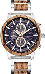 Wooden Watch for Men Women, Stylish Chronograph Military Casual Calendar Wood
