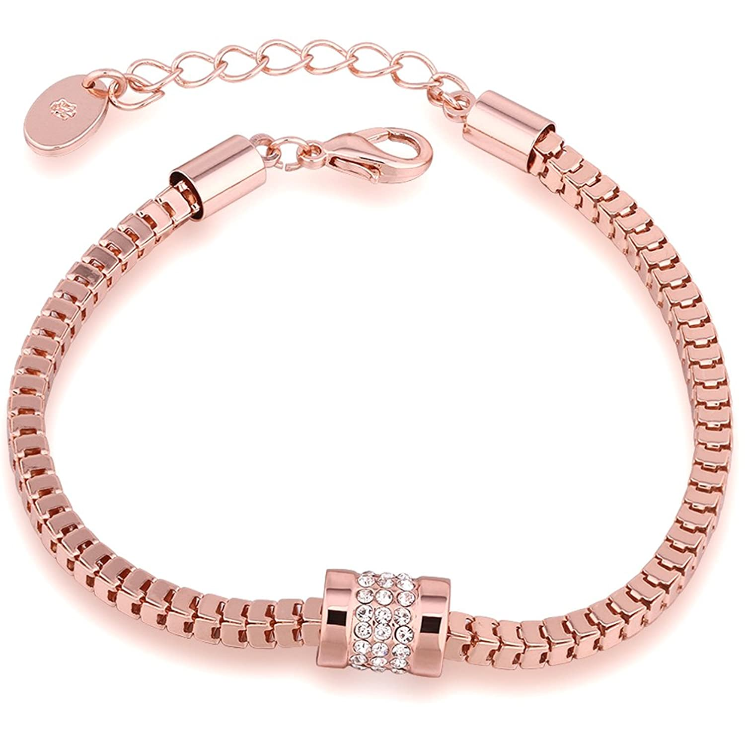 Annymall Rose Gold Plated Fashion Jewelry Crystals Unique link Bracelet for Women Girls