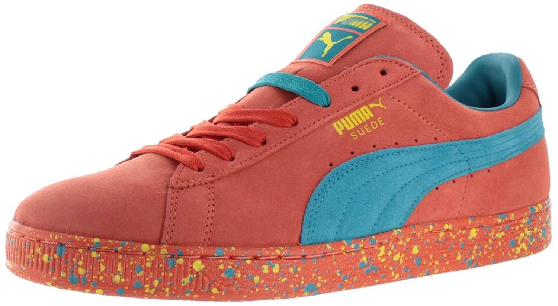 puma shoes red. amazon.com | puma suede classic men\u0027s fashion sneakers shoes orange size 10.5 red :