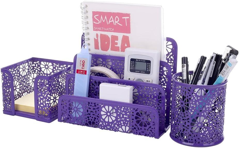Crystallove Set of 3 Purple Metal Mesh Desktop Supplies Organizer