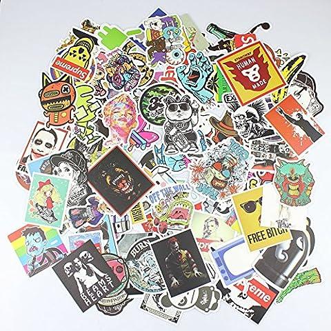 110-Pcs Random Mix New Skateboard Vintage Laptop Luggage Car Stickers Vinyl Decals (Corvette Planner)
