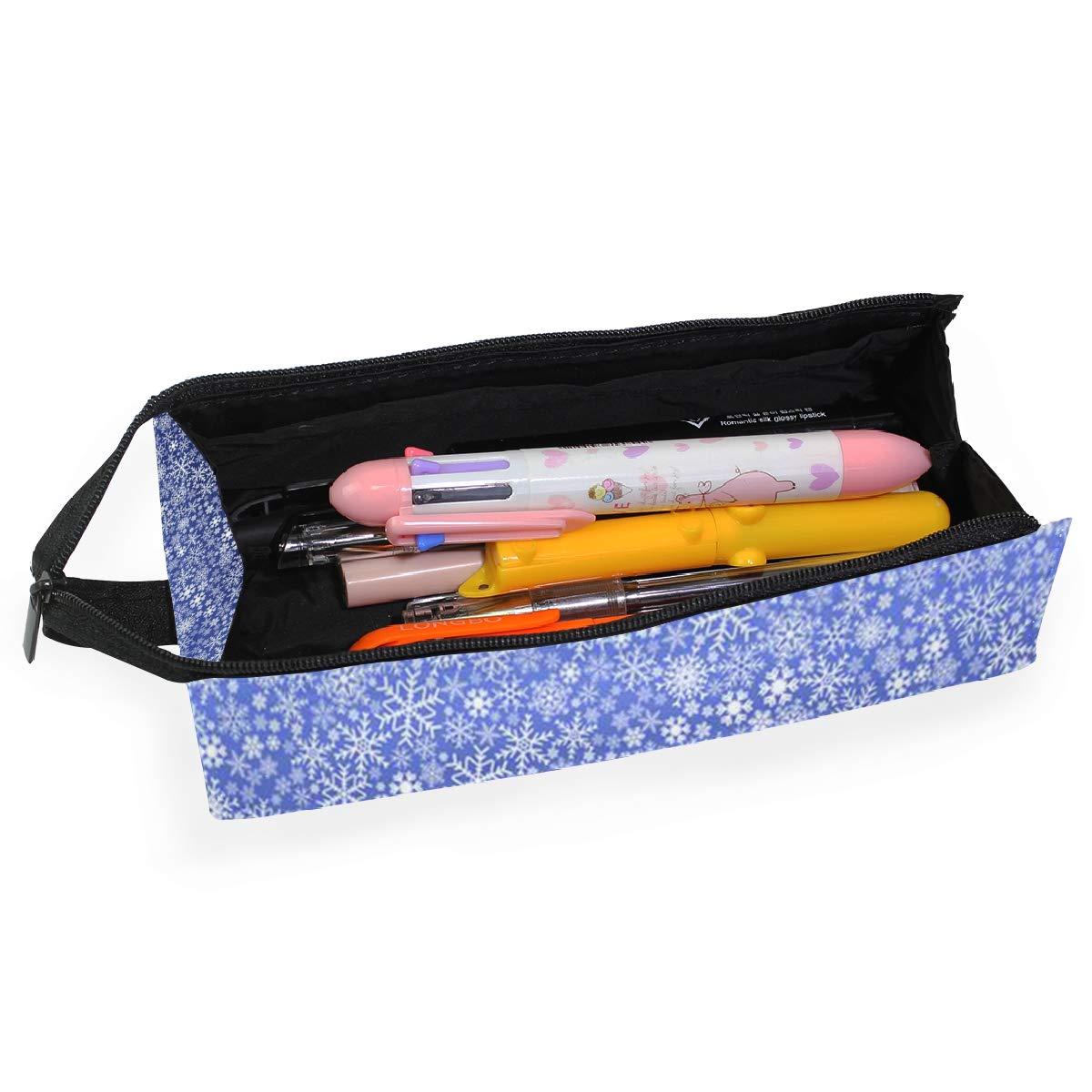 Glasses Case Winter Snowflake Dark Blue Travel Soft Sunglasses Pencil Bag Protective Holder