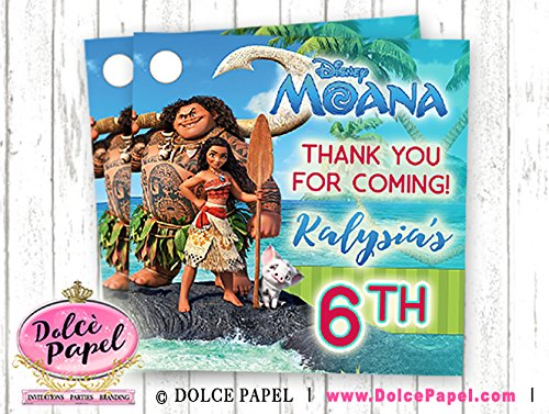 10 Moana Movie Birthday Party Favors Personalized Thank You Tags
