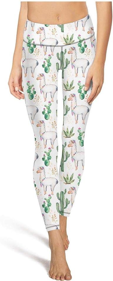 Women Yoga Pants Watercolor Green Cactus and Flower Cute Elastic Hot Yoga Pants Yoga Workout Bra