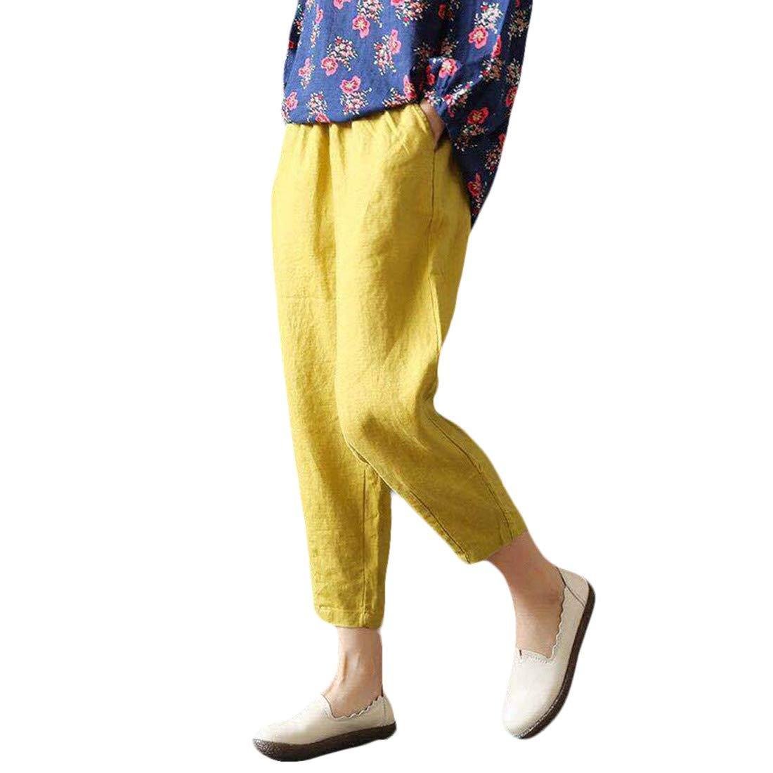 Coolred-Women Plus Size Linen/&Cotton Loose 100/% Cotton Casual Harem Pants