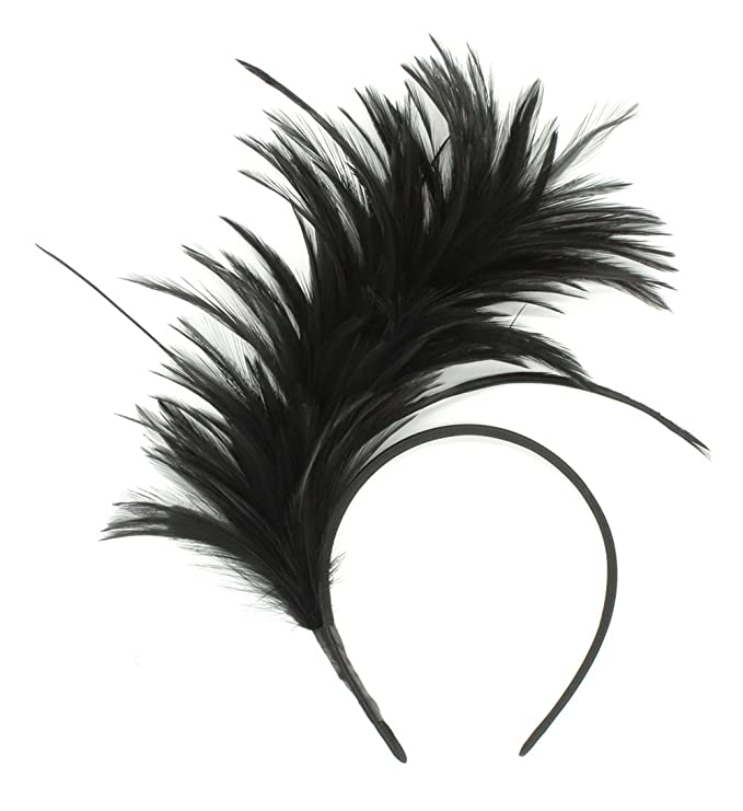 1920s Headband, Headpiece & Hair Accessory Styles Felizhouse Fascinator Feathers Headband for Women Kentucky Derby Wedding Tea Party Headwear Girls Flapper Headpiece $8.99 AT vintagedancer.com