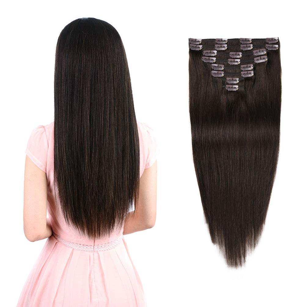 Amazon Com Real Clip In Hair Extensions Dark Brown 8 Pieces Premium Womens Straight Double Weft Thick Remy Hair Extensions Clip In On Human Hair For Short Hair 12 12