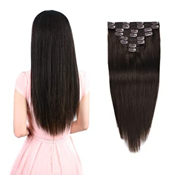 Real Clip in Hair Extensions Dark Brown 8