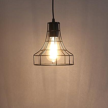 f2d26fafe3e Vintage Metal Pendant Lamps Lighting Chandelier Light Industrial Loft Retro  Metal Wire Cage Black Chandelier Hanging E27 Pendant Light Fixture - -  Amazon. ...
