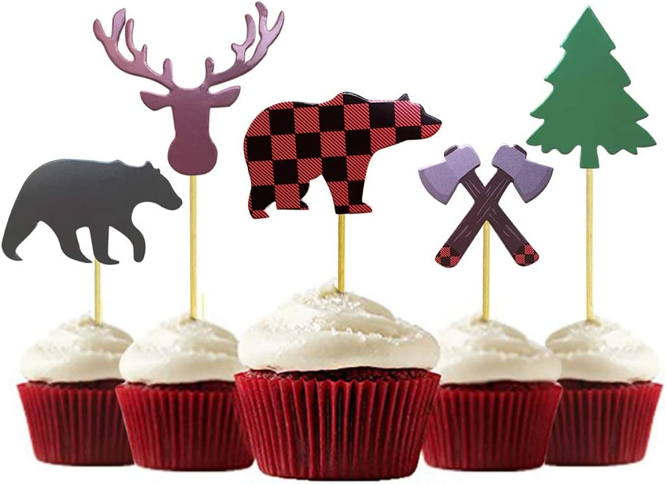 Bear Moose and Tree Cupcake Toppers Christmas Birthday One Year old Party Boy Lumberjack Theme Black Red Buffalo Plaid Set of 12