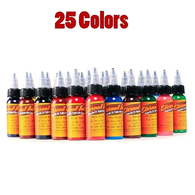 25Pcs 30ml Tattoo Pigment Permanent Makeup 1oz Bottle