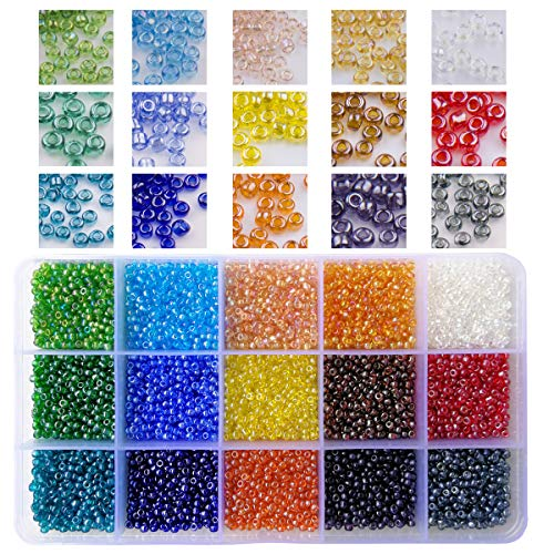 BALABEAD 7500pcs in Box 15 Colors Assortment 8/0 Glass Seed Beads Transparent Colors Rainbow Loose Spacer Beads, 3mm Round, Hole 1.0mm (500pcs/Color, 15 Colors)