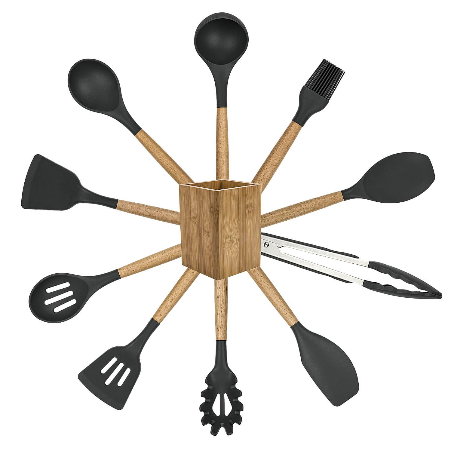 POENSCAE Kitchen Utensils,Silicone Cooking Utensils Set,11-Piece with wood Handles for Non-Stick and Heat Resistant Cookware Set FDA Approved and BPA Free-Great Holiday Gift