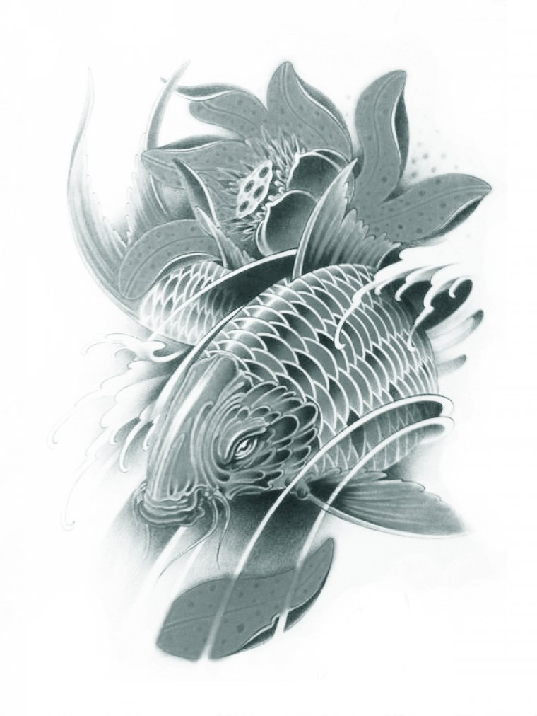 Wonbeauty Halloween temporary tattoos for men and women black and white fish and lotus fake realistic tattoo stickers