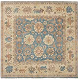"""Ecarpetgallery Hand-knotted Royal Ushak Open Field 10'0"""" x 10'0"""" Blue 100% Wool area rug"""