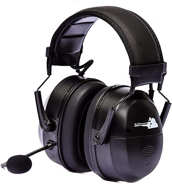 Rifleman - Bluetooth Communication Hearing Protection - Electronic Ear Muffs Bluetooth Technology Compatible - NRR 25 - Hearing Amplification and Protection -Black - RFCMBBX